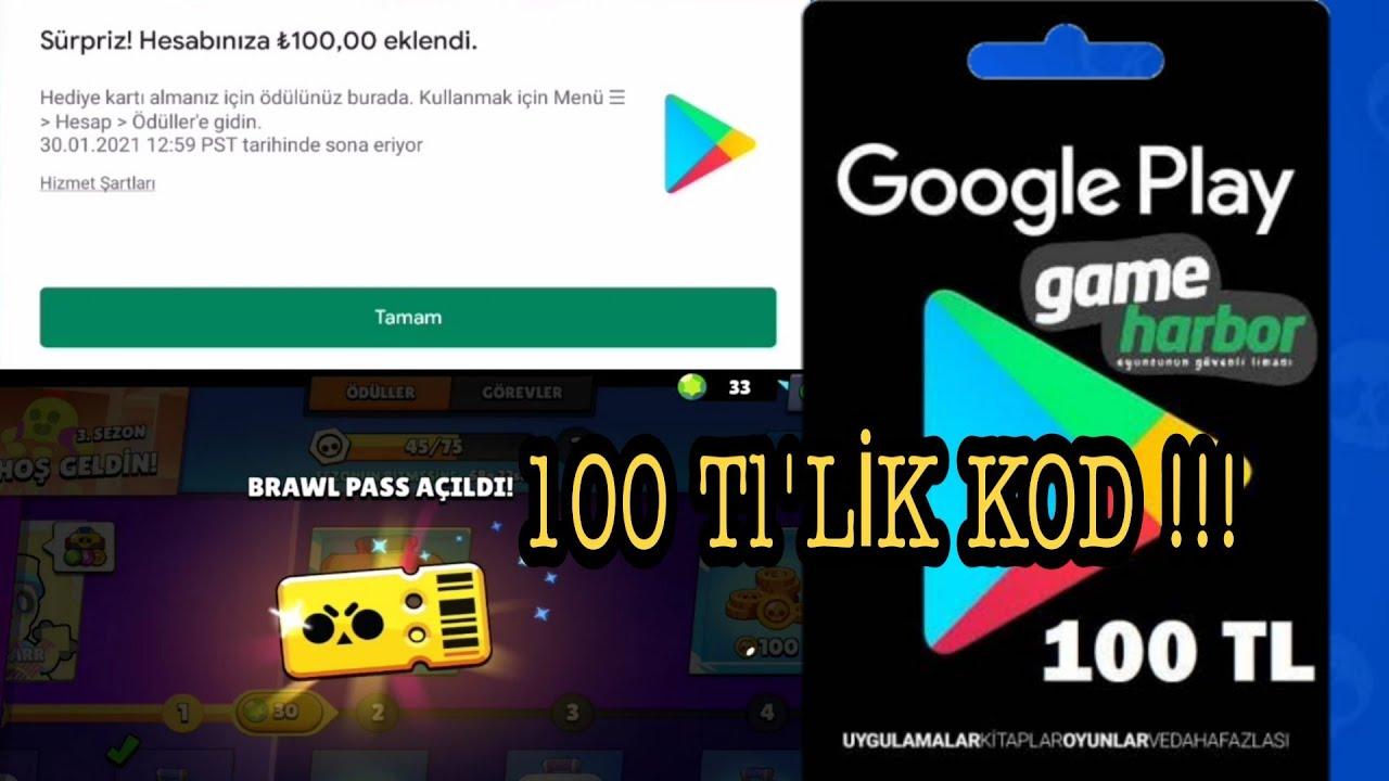 100 TL'LİK GOOGLE PLAY STORE KODU İLE BRAWL PASS ALDIM.. KODU VERİYORUM (KANITLI!!) BRAWL STARS. from Tech mirrors